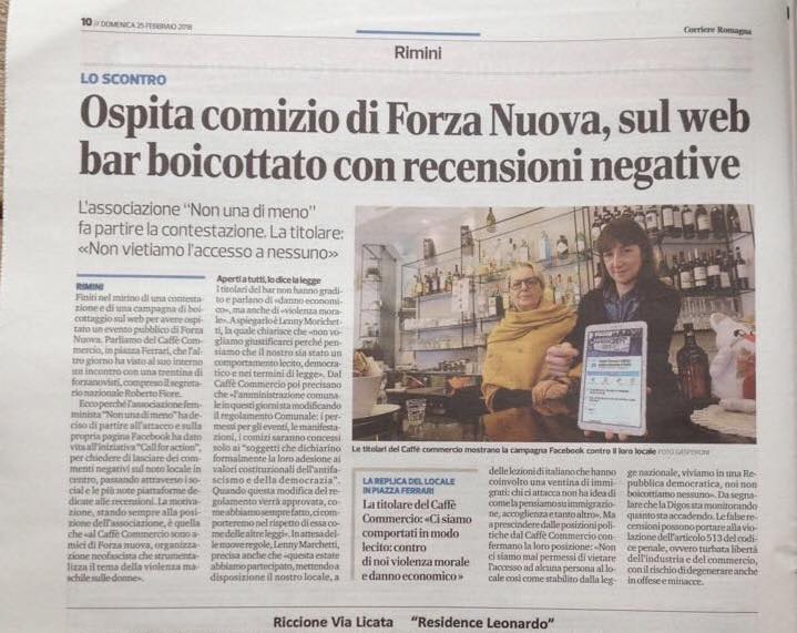 corriere romagna 25 feb 2018 su boicotaggio caffè commercio